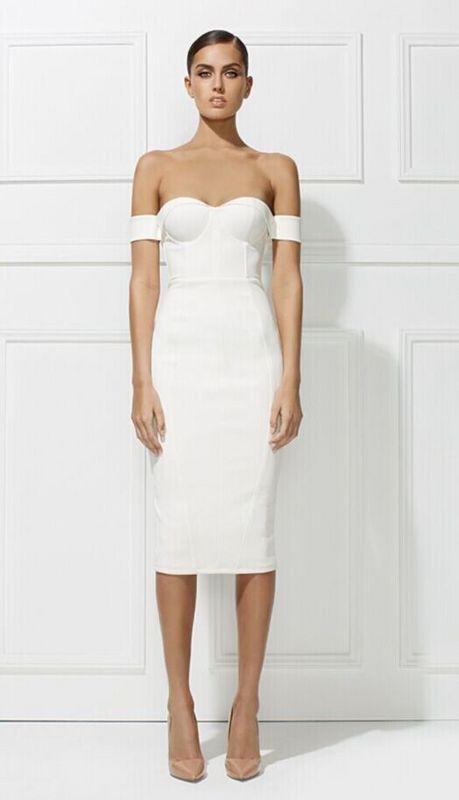 Embossed Off Shoulder White Dress