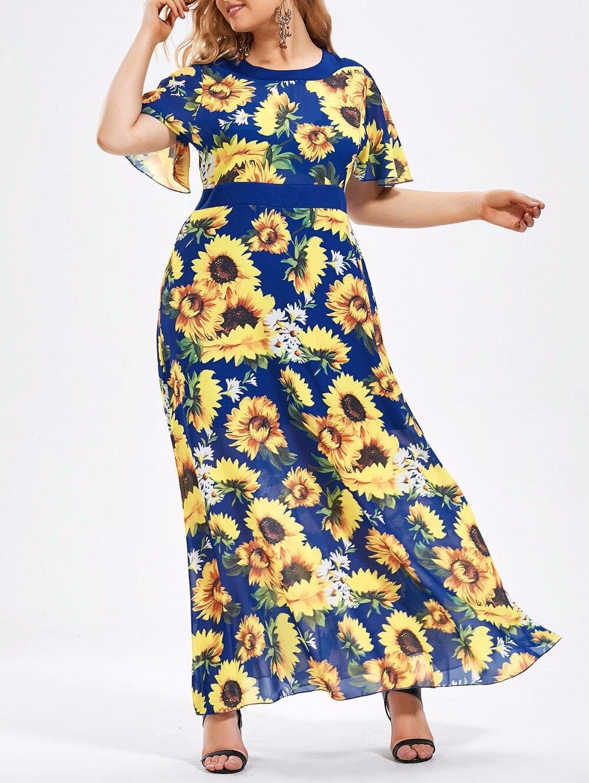 2018 Plus Size Dress Women Boho Floral Chiffon Summer Dress Long Beach Dress Print 6XL Big Size Party Dress Maxi 5XL Vestidos