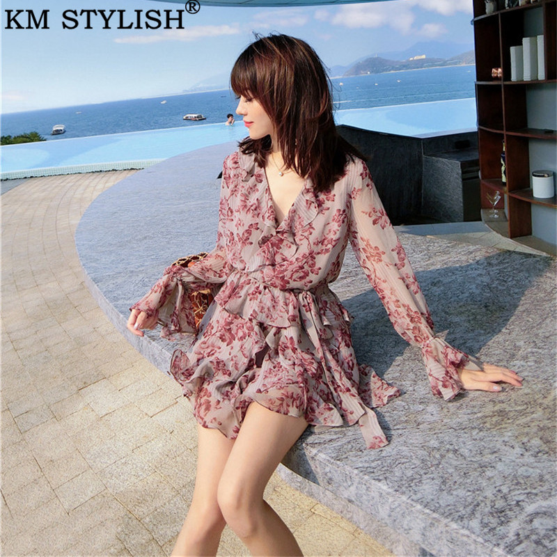 2019 Summer New Sexy Lady's V-neck Ruffle Romantic Print Chiffon Playsuits Lace Belt Waist Flare Sleeve Boot Cut Jumpsuit