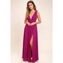 Bohemian Dress 2018 Summer New Women's Long Elegant Party Slim Sleeveless Beach Dress for Female V-Neck Split Cute Style Dresses