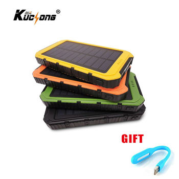 KuChong 10000mAh Solar Power Bank Dual USB Universal Solar Charger Battery Charger Powerbank for Phone Fast Shipping