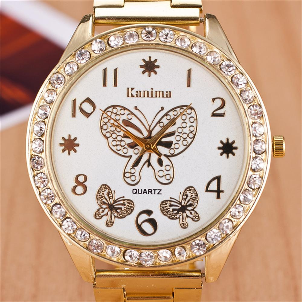 2016 New Brand Gold Geneva Butterfly Casual Quartz Watch Women Crystal Stainless Steel Dress Watches Relogio Feminino Clock Hot 2017 new brand silver crystal casual quartz h watch women metal mesh stainless steel dress watches relogio feminino clock hot