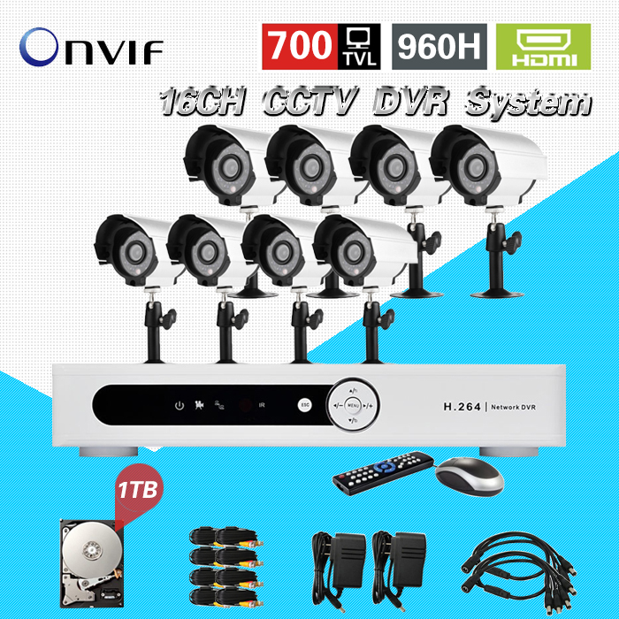 TEATE 16 channel CCTV DVR security System 8pc 700tvl IR Day Night camera video surveillance system dvr kit 1TB hard drive CK-220 система видеонаблюдения ngtechnic 8 8 cctv 8 2 dvr 1008 d626bcm 700 c