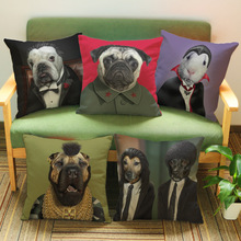 18inch Fashion Printed Animal Cushion Cover Dog Imitate Star Pattern Cotton Linen Sofa Car Throw Pillow Case Home Decor KDT1193