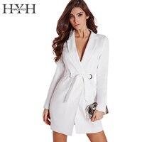HYH HAOYIHUI Women Dress Vestidos Solid White High Waist Casual Slim OL Dresses Sexy Plunge Neck