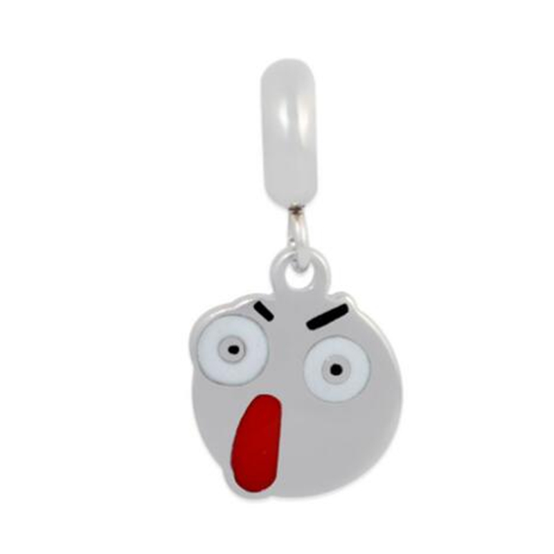 Stainless Steel Charms Surprise Emoji Face Expression Charms Fit Bracelets & Bangle Women Fashion Jewelry