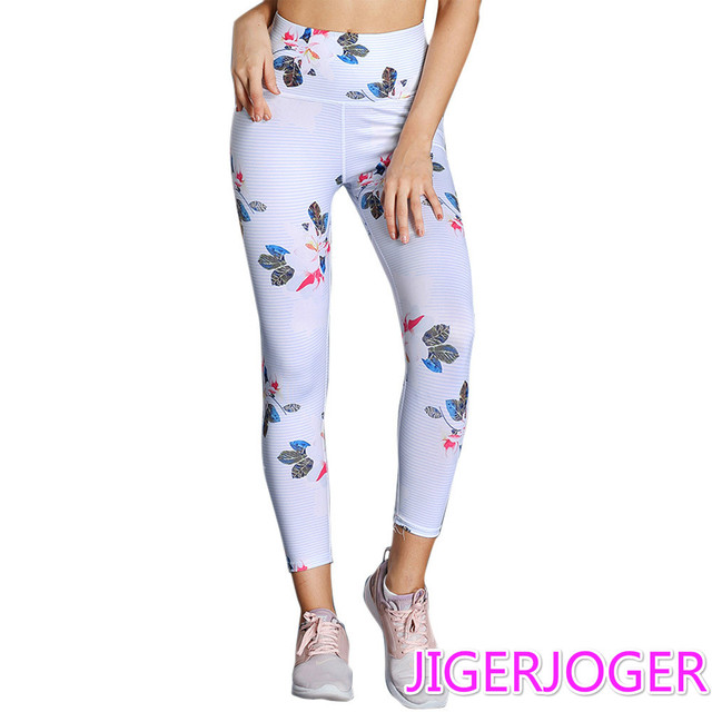 c0a98f87ddd4d0 JIGERJOGER 2019 White Floral printed sports tight high waist fast dry push  hips yoga pants Fitness Leggings women's jegging pant