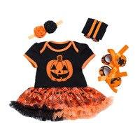 Bebek Giyim Seti Kız Şirin Kabak Kıyafetler Bebek Cadılar Bayramı Butik Giyim Turuncu Bandı Ile Tutu Elbise 4 adet set