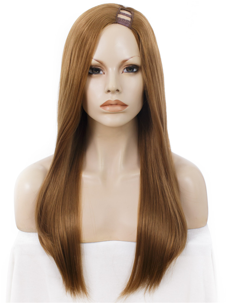 Imstyle U Part Straight Long Lace Front Wig Synthetic Glueless honey blond Wigs For African American Women cosplay 24 inches