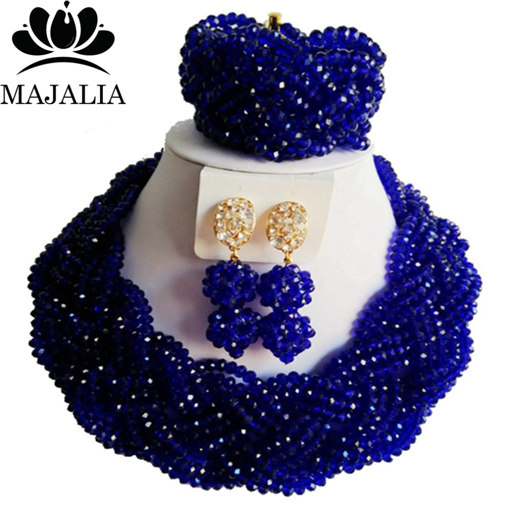 Nigerian wedding African beads jewelry set crystal Royal Blue necklace bracelet earrings A well-known brand Majalia  Y-42Nigerian wedding African beads jewelry set crystal Royal Blue necklace bracelet earrings A well-known brand Majalia  Y-42
