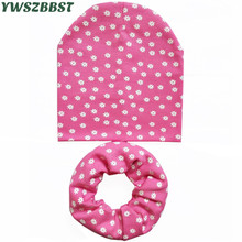 2019 New Spring Autumn Cotton Baby Girls Hat Scarf Flower Star Print Crochet Kids Boys Children Beanies Cap