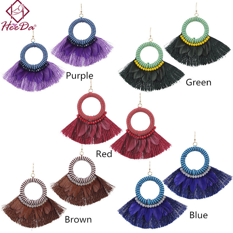 Heeda 2018 New Bohemian Vintage Braid Earrings Creative Exaggerate Fan Tassel Eardrop Retro Style Unique Ethnic Women Brincos