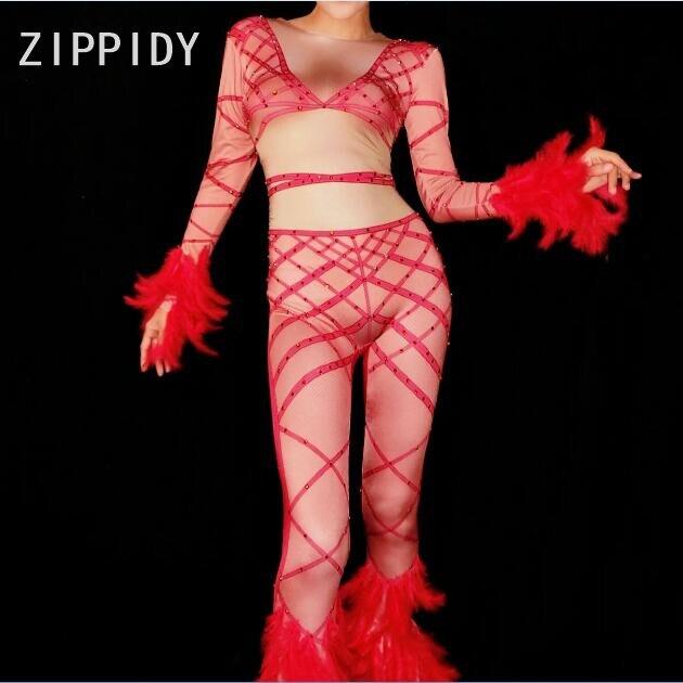 Danse Discothèque Nouveau De Strass Bandage Conception Spectacle Plume Rouge Sexy Salopette Barboteuses Outfit Body Mode Red Femmes Jumpsuit Prom Party SYYqxRwz