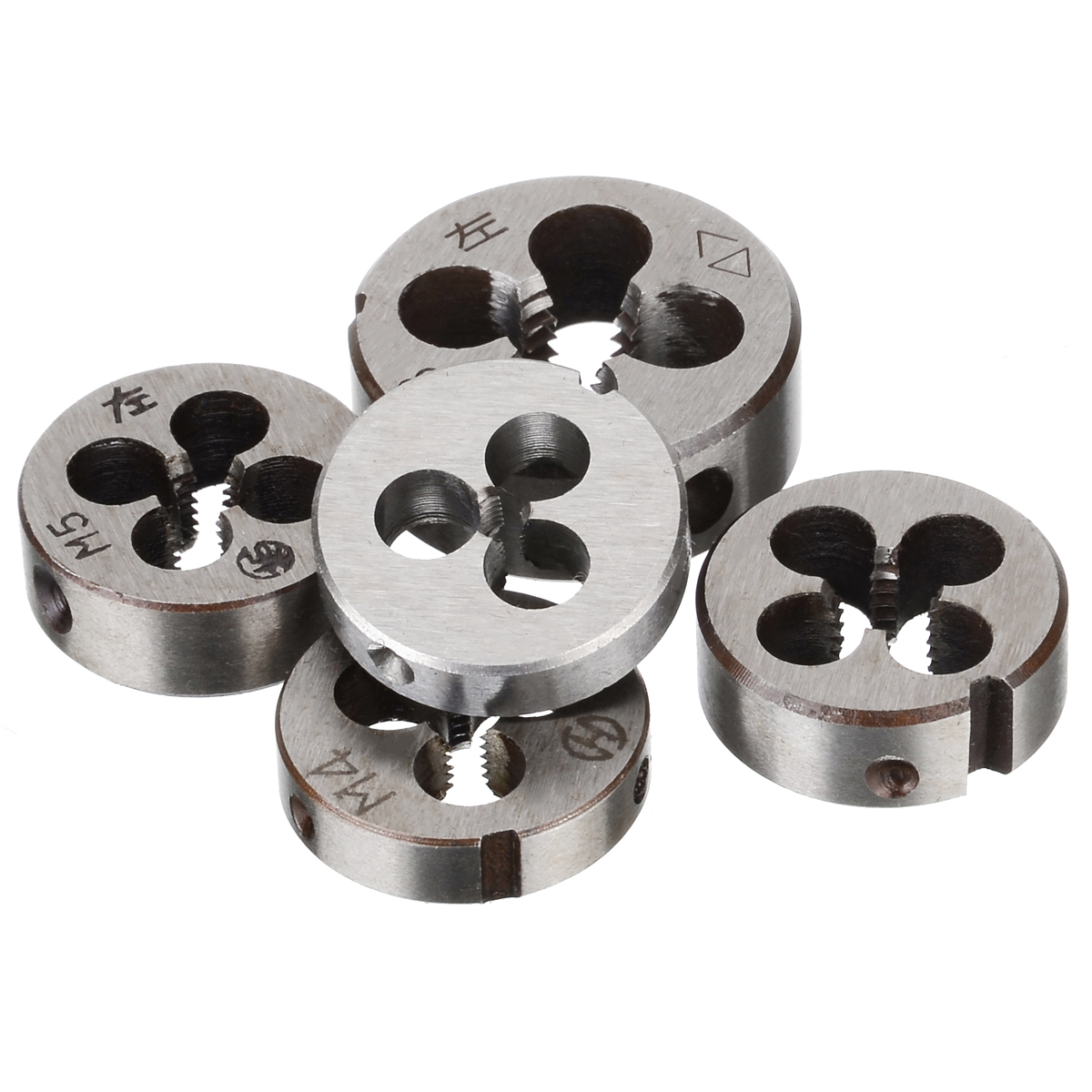 5pcs High Hardness Metric Threading Die Alloy Steel Left-hand Thread Cutting Tool Set M3 M4 M5 M6 M8 for Mold Machining5pcs High Hardness Metric Threading Die Alloy Steel Left-hand Thread Cutting Tool Set M3 M4 M5 M6 M8 for Mold Machining