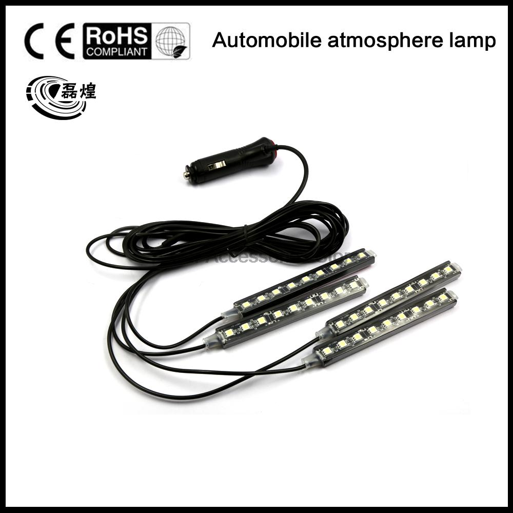 2016 4x9 LED 8 COLORS Led Car Atmosphere Lights Decoration Lamp 12v Auto CarLed Interior Lights Glow Decorative Lamp Bulb yijinsheng 4x12 led 7 colors car atmosphere lights decoration lamp 12v auto interior lights glow decorative cigarette lighter