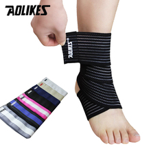 1pcs High Quality Ankle Support Spirally Wound Bandage Volleyball Basketball Ankle Orotection Adjustable Elastic Bands cheap Cotton Spandex Ankle Protector A-1520 Aolikes 70cm Black Blue White Skin Color Black with Blue Gray with White Breathable and Comfortable