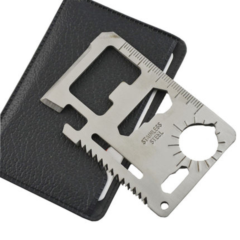 Multi Tools 11 in 1 Multifunction Outdoor Hunting Survival Camping Pocket Military Credit Card Knife Silver