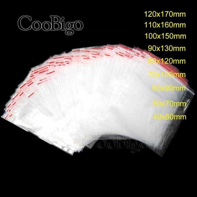 100 pcs Sacos de Plástico Sacos de Jóias Ziplock Fechado Bloqueio Reclosable Limpar Peças de Artesanato de Jóias de Embalagem 0.05 milímetros de Espessura 0.06 milímetros 0.07mm