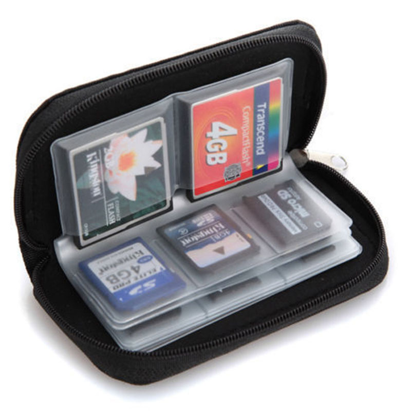 Wallet Case Protector Holder Zipper-Pouch Storage-Carrying Micro-Sd-Memory-Card MMC Black