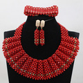 Romantic Red Chunky Bib Women African Jewelry Sets Handmade Crystal Beaded Bridal Necklace Set New Year Gift Free Shipping WD988