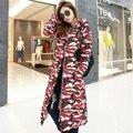 2017 Camuflagem de inverno longo casaco de algodão-acolchoado mulheres jaqueta de mulheres jaqueta de inverno outerwear espessamento fino