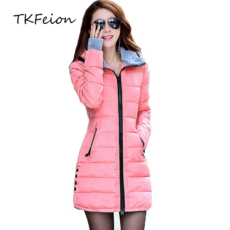 2018 Women Autumn Winter Hooded Coats Plus 4XL Fashion Ladies Warm Cotton Padded Long   Parka   Female Puffer Jackets Casual Clothes
