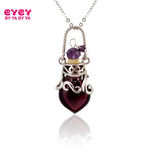 1PC Murano Glass Perfume Necklace Small Heart Essential oil bottle pendants Perfume bottle