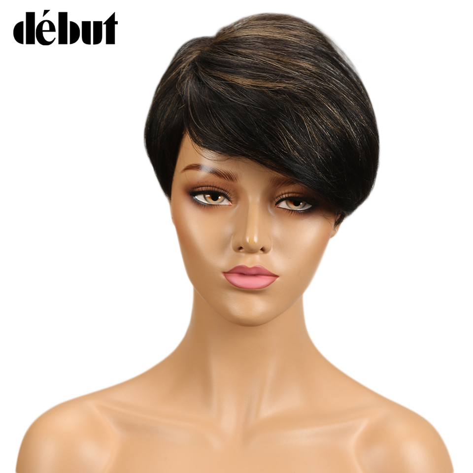 Debut Wigs For Black Women Brazilian Remy Short Straight Human Hair Wigs Side Part Ombre Wig Human Hair Free Shipping