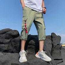 Safari Style Calf-Length Pants Webbing Multi-Pockets Mens Elastic Waist Large Size Black Green Gray
