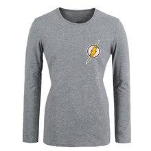 DC. Comic the Flash Symbol Super Hero Girls T shirt For Women long sleeves Tops Creative Printed Tee Cosplay costume