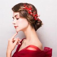 Handmade Red Beads Headbands Gold Color Plant Design Princess Bridal Wedding Headdress Hairwear Hair Ornaments Headpiece