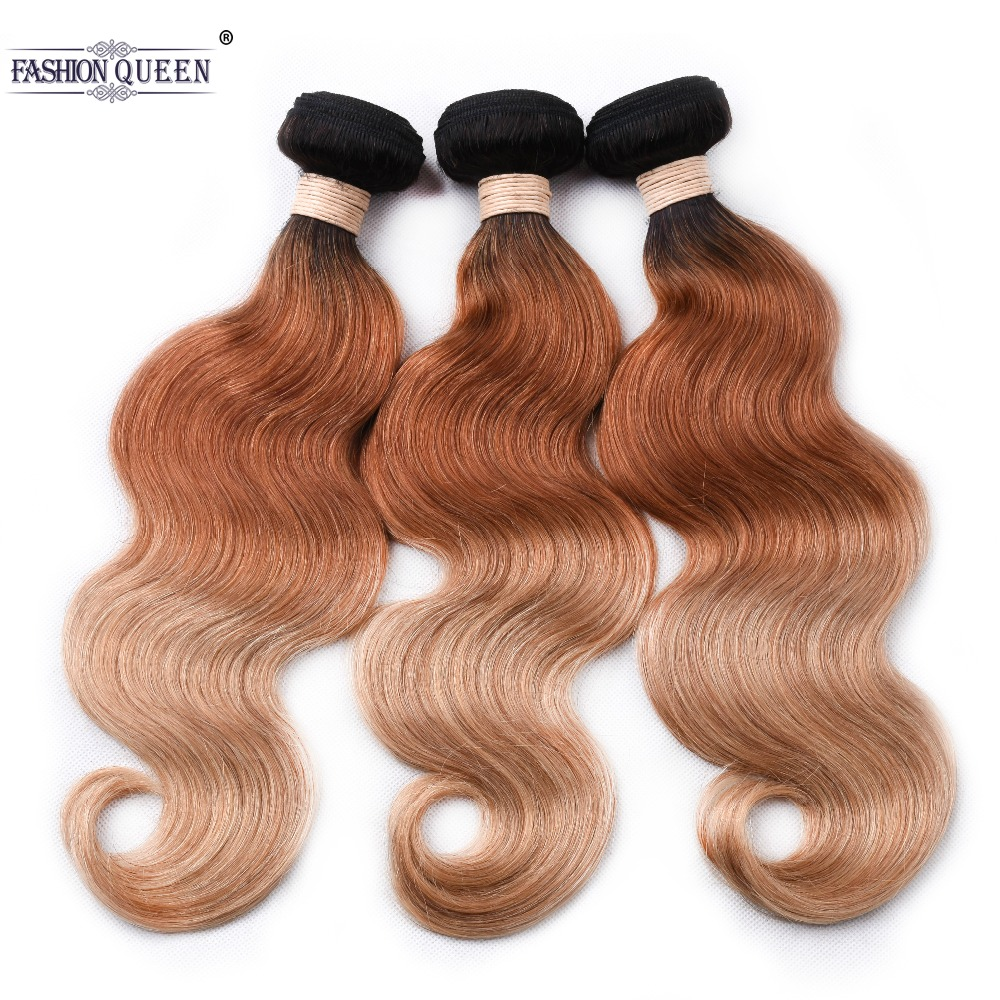 Pre Plucked Ombre Brazilian Non Remy Human Hair Weave 1B 30 27 Brown Body Wave 3