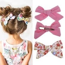 цена на 2Pcs Baby Girls Print Flower Bohemian Style Bow BB Hair Clips Headwear Children Cute Cotton Hairpins Barrettes Hair Accessories