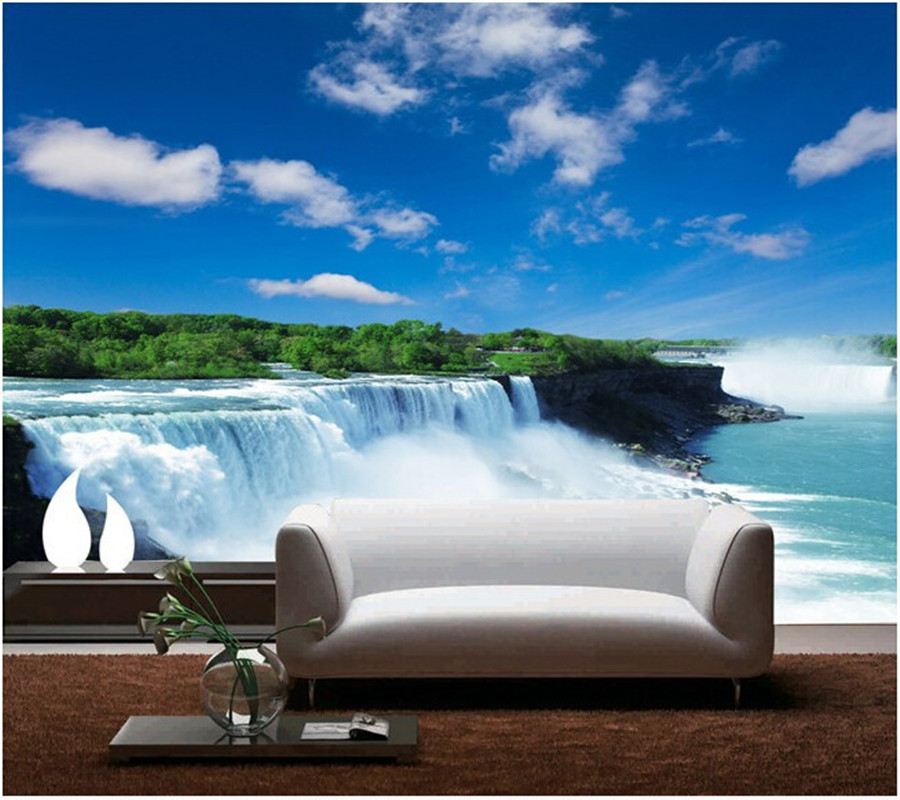 Custom blue and white mountain stream natural scenery wallpaper ocean mural decoration for the bedroom living room sofa backdrop islands in the stream