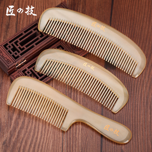 Natural Ox horn Pure Handm combhead massage thicker comb hair care thickening Dense teeth Antistatic Professional easy carry