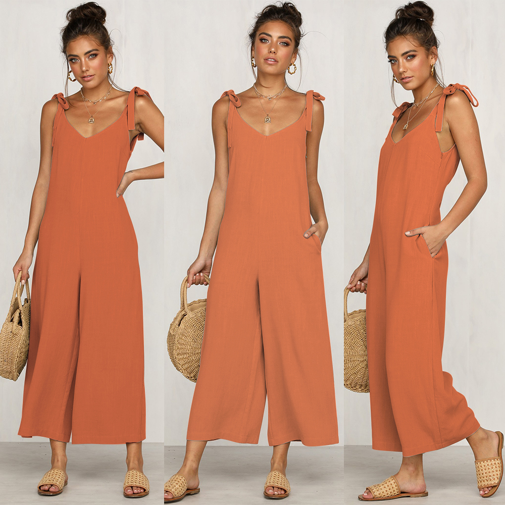 2019 summer new European and American fashion casual women's casual loose long   jumpsuit   solid color wide leg   jumpsuit   strap back