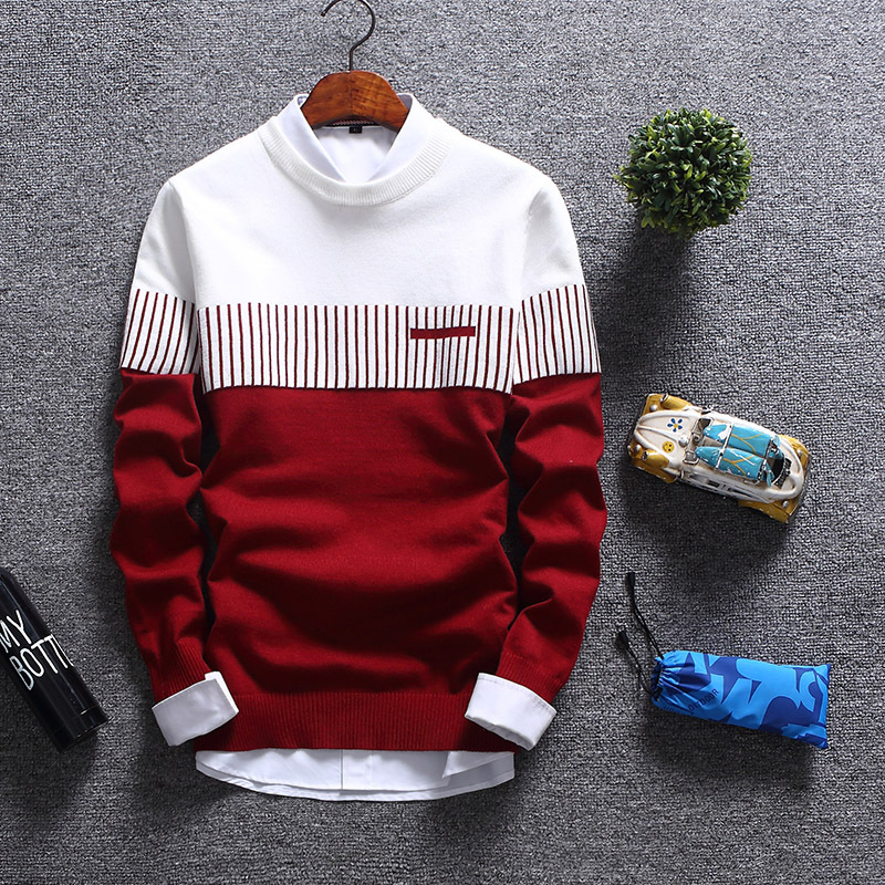 New Men 's 2019 Men' S Double Color Knit Shirt Sleeve Cultivate One 's Morality Round Collar Teenagers Striped Sweater