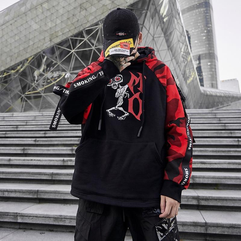 Mode Hip Hop sweat hommes Patchwork Camo épais pull sweat à capuche pour homme Harajuku Streetwear automne 2019 hauts
