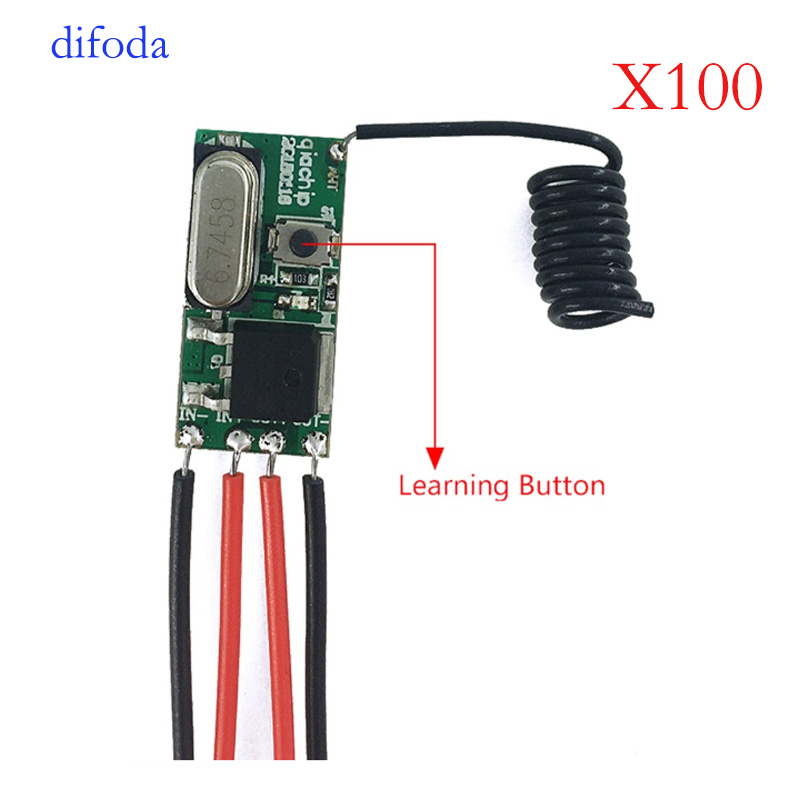 100PCS Wireless Remote Control SwitchQIACHIP 433 Mhz 1CH RF Relay Receiver Micro Module LED Light Controller DC 3.6V 24V DIY
