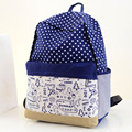 2016 Hot Sale Pretty Dots Canvas Fashionable Women Backpack Middle School Student Book Bag Leisure Backpack F325