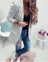 Mr.Nut Europe And The United States Autumn Small Suit Sexy Open Long Sleeve Ladies Striped Small Suit
