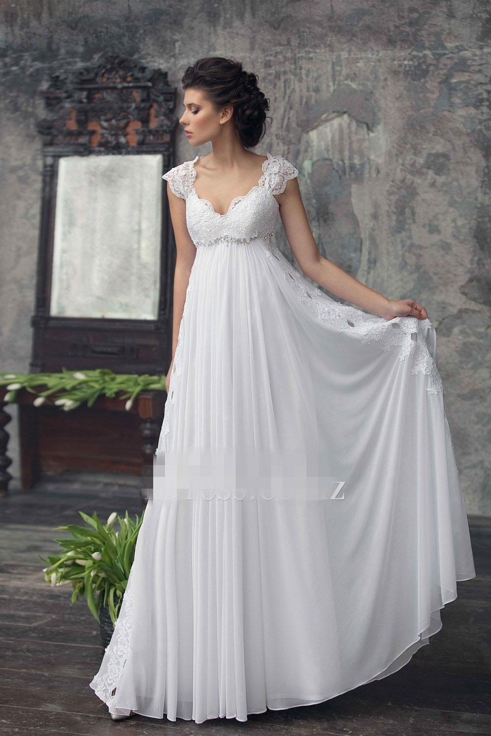 2017 empire maternity wedding dresses beaded lace chiffon