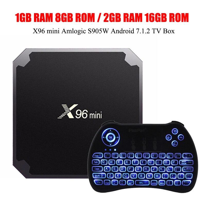 X96mini Android 7.1.2 S905W Mali-450 Penta-Core Carta di TF TV Box 8 GB 1G DDR3 2.4 GHz WiFi 4 K x 2 K H.265 100 M LAN Digitale Media