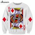 Raisevern new harajuku playing cards print 3D sweatshirts The King of Diamonds print hoodies men women fashion sweatsuits tops