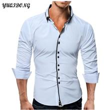 YUQIDONG Brand 2017 Fashion Male Shirt Long-Sleeves Tops Casual Solid Multi-Button Mens Dress Shirts Slim Men Shirt 3XL  DWFAM