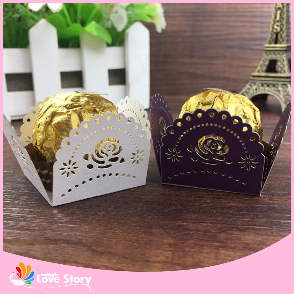 50pcs Rose Flower Design Candy Wrapper Chocolate Packaging Bar