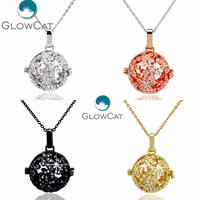 GLOWCAT 4 Colors Flower Zircon Pendant Beads Cage Essential Oil Diffuser Aroma Copper Locket Necklace Stainless