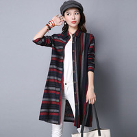 Celmia Long Sleeve Turn Down Collar Buttons Pockets Striped Print Open Front Shirt Top Female Autumn