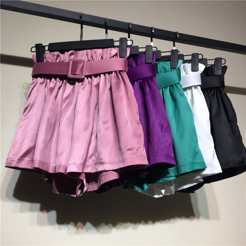 New Rayon Satin Light Shiny Summer   Shorts   Women Vintage Slim Sashes Thin Wide Leg   Short   Elastic Waist Loose   Shorts   Female Mw302