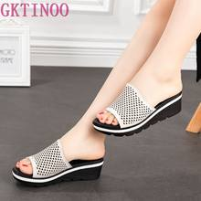 GKTINOO 2019 Summer women slippers genuine leather Open Toe middle heel shoes Women Wedges Slippers hollow slides sandals(China)